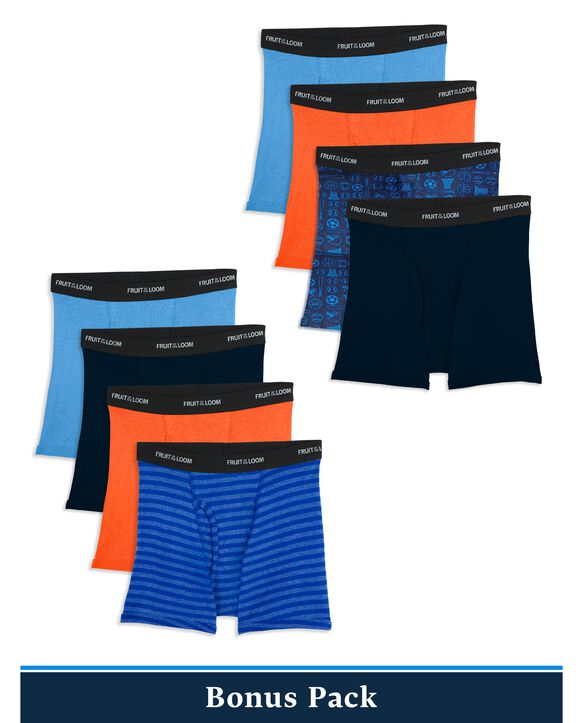 Boys' Print and Solid Boxer Briefs,8 Pack