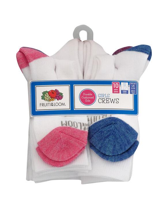 Girls' Cushioned Crew Socks, 10 Pack WHITE/PURPLE, WHITE, WHITE/BLUE, WHITE/PINK
