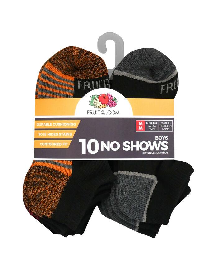 Boys' Cushioned No Show Socks, 10 Pack JET BLACK/VIBRANT ORANGE,JET BLACK/HIGH RISK RED, JET BLACK/LEMONCH,JET BLACK/B50, JET BLACK/DIRECTOR BLUE, JET BLACK/B50, JET BLACK/B50, JET BLACK/B5