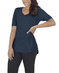 Women's Essentials Elbow Length V-Neck T-Shirt, 1 Pack T Blue Heather