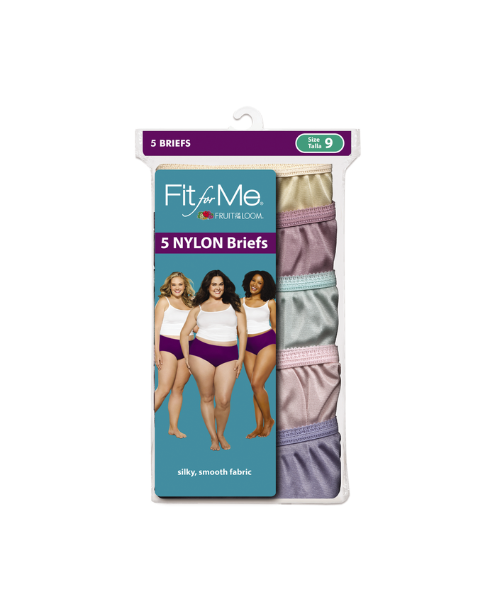Fit For Me by Fruit of the Loom Women's 5 Pack Nylon Assorted Brief Assorted