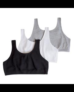 Girls' Cotton Stretch Sports Bra 3 Pack