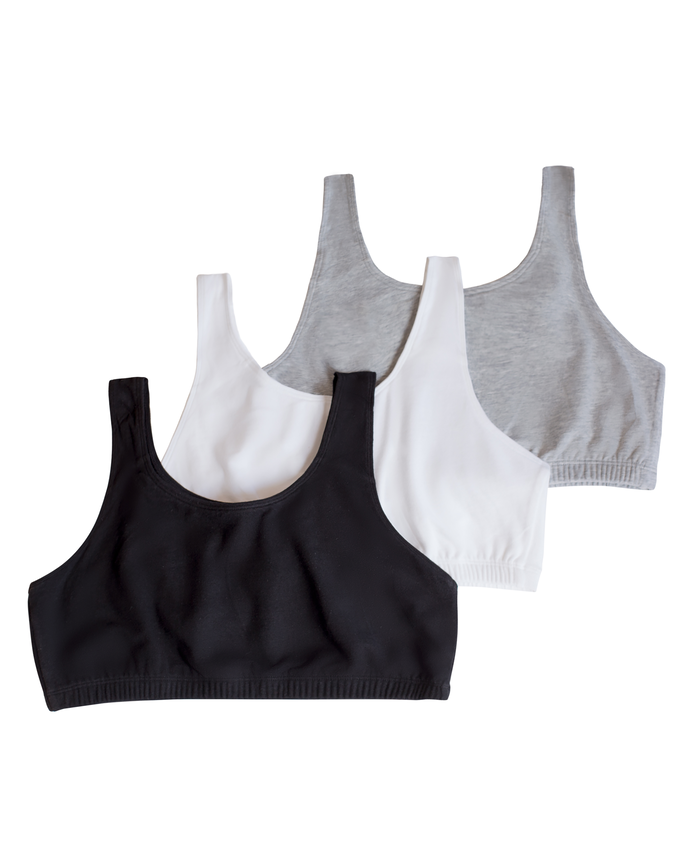 Girls' Cotton Stretch Sports Bra 3 Pack