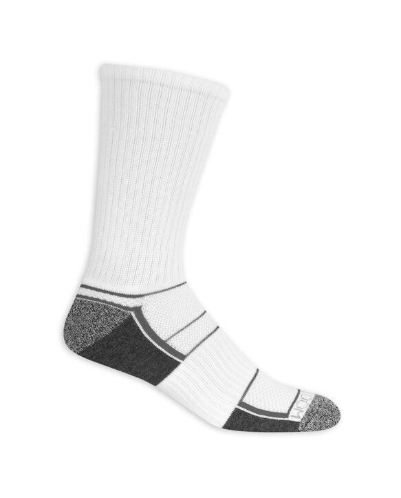 Men's Breathable Crew Socks,  8 Pack, Size 6-12 WHITE/GREY
