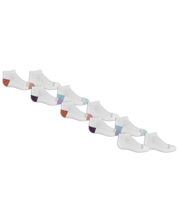 Girls' Everyday Soft Cushioned Low Cut Socks, 10 Pack, Size 10.5-4 WHITE, WHITE/PURPLE, WHITE/PINK, WHITE/BLUE