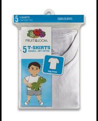 Toddler Boys' White T-shirt, 5 pack White
