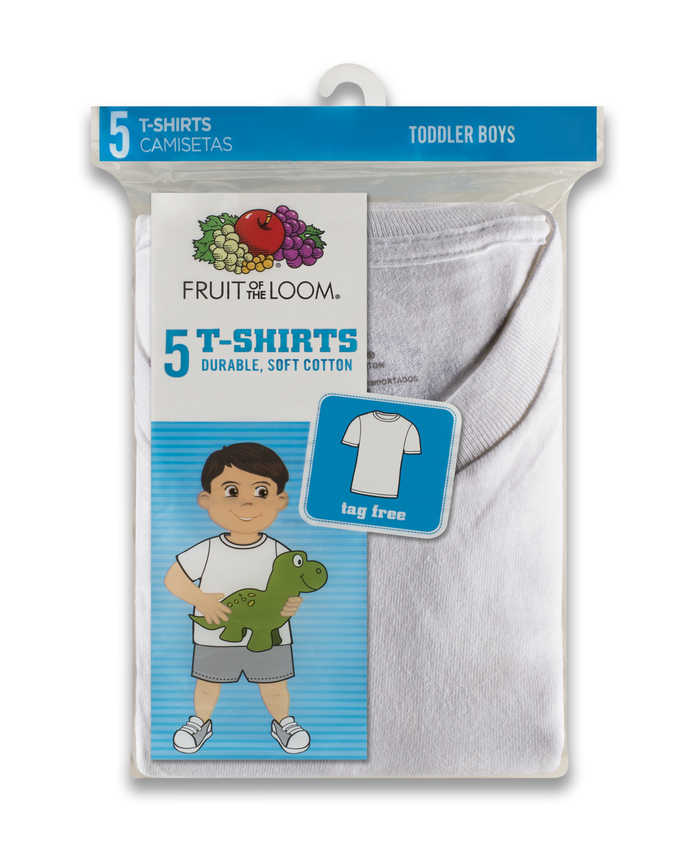 0205887d7 Toddler Boys' White Crew Neck T-Shirts, 5 Pack | Fruit