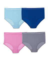 Women's  Fit for Me by EverLight Briefs Plus Size Panties, 4 Pack Assorted