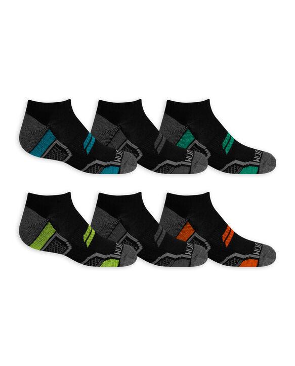 Boys' Active Cushioned No Show Socks, 6 Pack CAVIAR/LAPIS,CAVIAR/B50,CAVIAR/LIM PUNCH,CAVIAR/FLAME,CAVIAR/B50, CAVIAR/VIVID BLUE