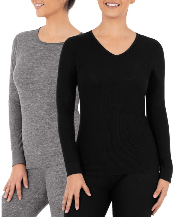 Women's Thermal Crew & V-Neck Top, 2 Pack Smoke Heather/ Black
