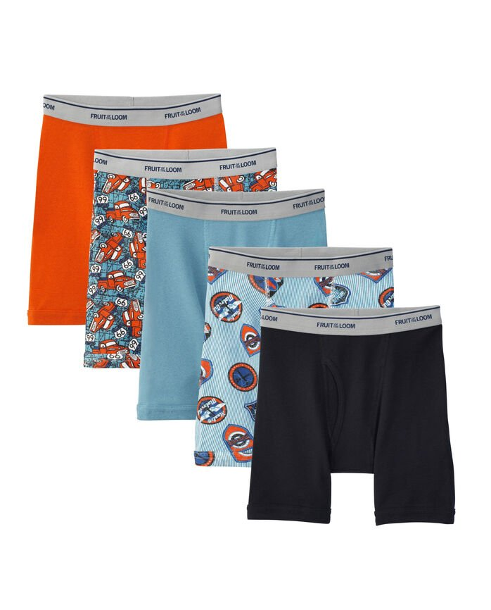 Boys' Print and Solid Boxer Brief, 5 Pack
