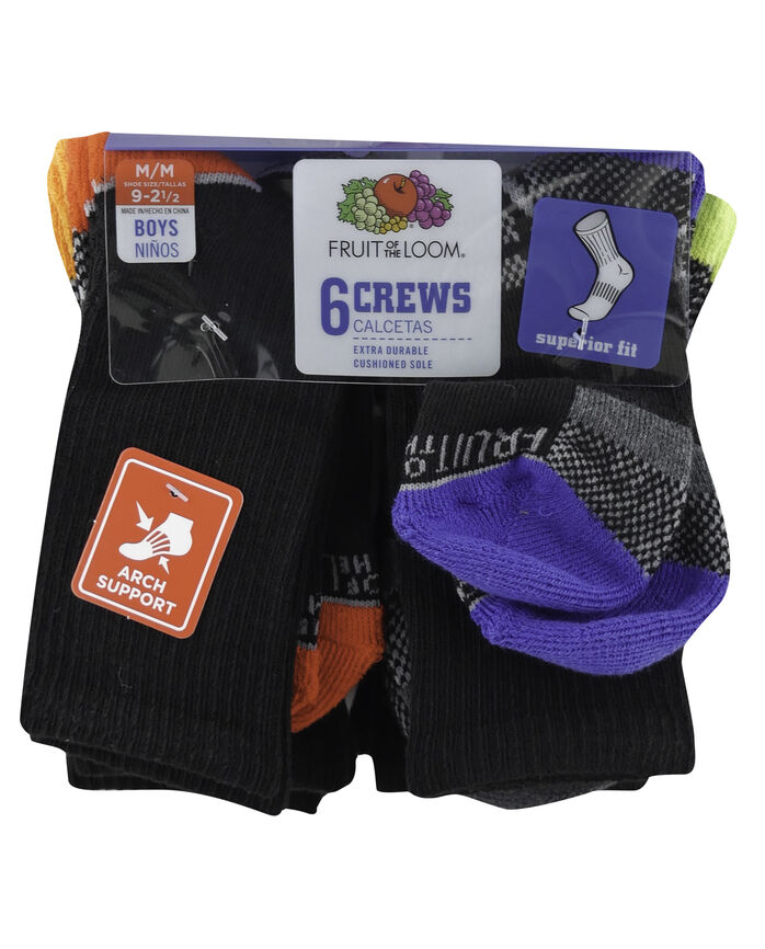 Boys' Everyday Active Crew Socks, 6 Pack BLACK/HIGH RISK RED, BLACK/GREY, BLACK/AUTUMN GLORY, BLACK/DAZZLING BLUE, BLACK/GREY, BLACK/LIME