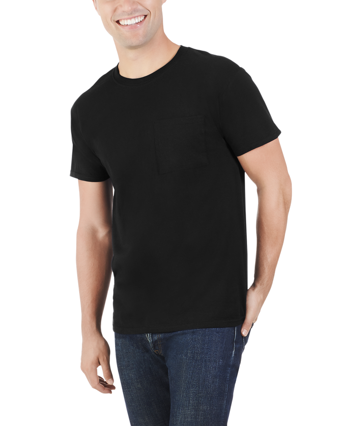 Big Men's Dual Defense UPF Short Sleeve Pocket T-Shirt, 1 Pack Black