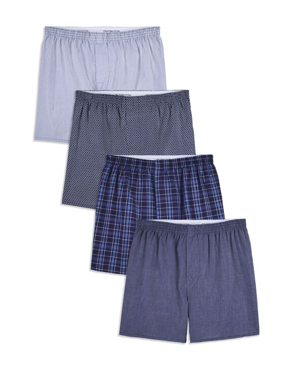 Men's Printed Woven Boxer, 4 Pack, Extended Sizes Assorted