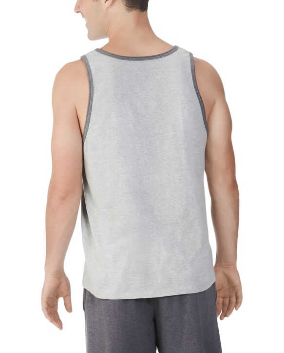 Big Men's Dual Defense UPF Sleeveless Tank Top Steel Grey Heather