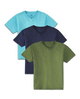 Boys' Super Soft Solid Multi-Color Short Sleeve V-Neck T-Shirts, 3 Pack