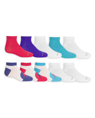 Girls' Lightweight Low Cut Socks, 10 Pack WHITE/PURPLE, WHITE/PINK, WHITE/BLUE, WHITE, BLUE, PURPLE, PINK