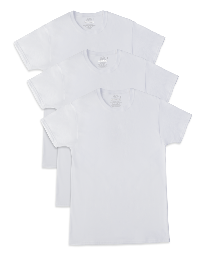 Men's Breathable Cooling Cotton White Crews, 3 Pack