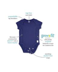 Baby Boys' Short Sleeve Grow & Fit Bodysuits, 7 Pack Blue Multi