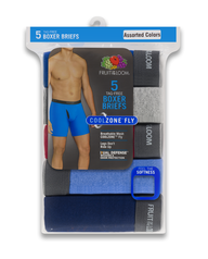 Men's CoolZone Fly Assorted Boxer Briefs, 5 Pack ASSORTED