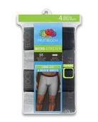 Men's Micro-Stretch Black and Gray Long Leg Boxer Briefs, 4 Pack, Size 2XL ASSORTED