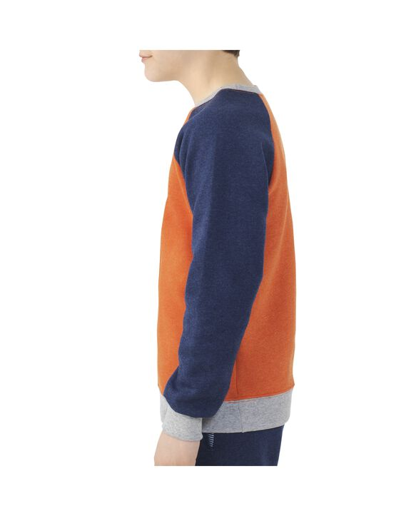 Boys' Fleece Raglan Crewneck Sweatshirt, 1 Pack Orange Heather