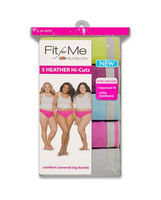 Fit for Me by Fruit of the Loom Women's Assorted Heather Cotton Hi-Cut, 5 Pack Assorted Heathers