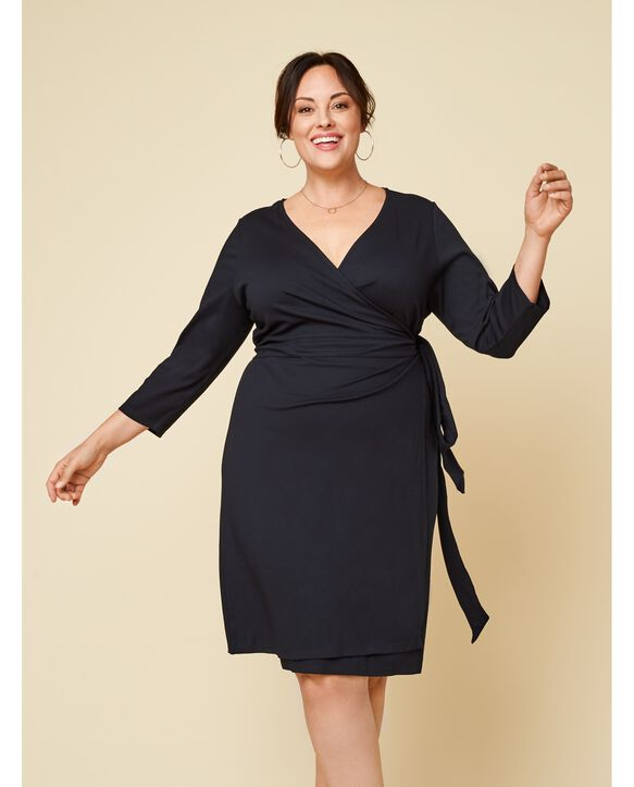 Women's Seek No Further Plus Size Ponte ¾ Sleeve V-Neck Wrap Dress Brilliant Black