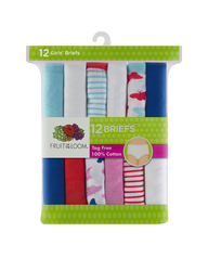 Girls' 12 Pack Assorted Color Brief Assorted Print and Color