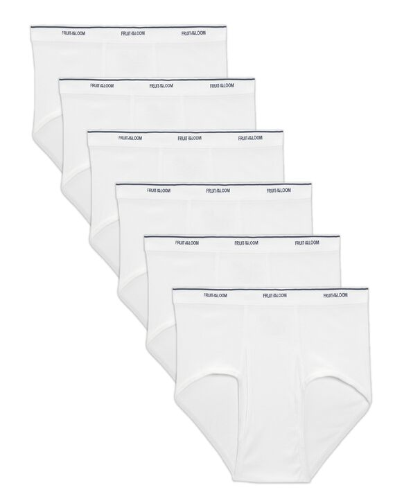 Big Men's Classic White Briefs, 6 Pack White
