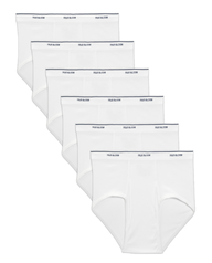 Men's Cotton White Briefs Extended Sizes, 6 Pack White