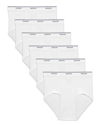 Big Men's Classic White Briefs, 6 Pack
