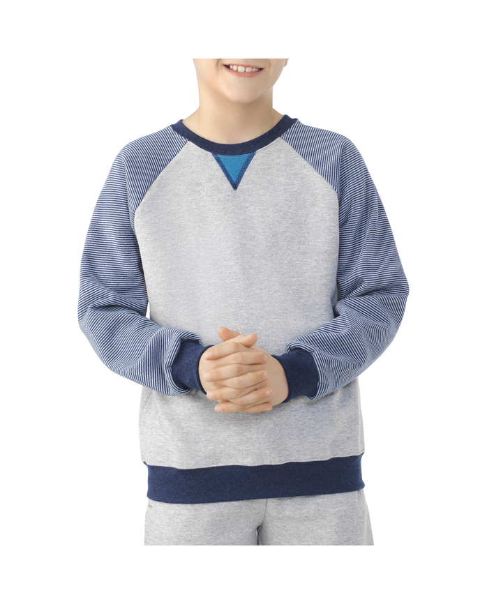 Boys Fleece Raglan Crewneck Sweatshirt ATHLETIC HEATHER / SMOKE BLUE STRIPE / T.BLUE HEATHER / AMULET TEAL HEATHER