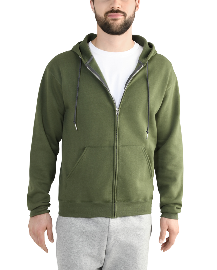 Men's EverSoft Fleece Full Zip Hoodie Jacket, 1 Pack Boxwood Green