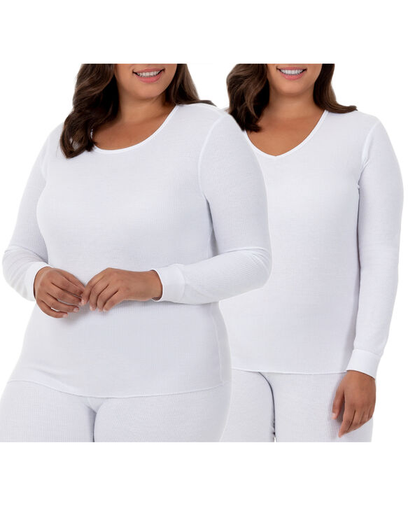 Women's Plus Size Thermal Crew & V-Neck Top, 2 Pack WHITE/WHITE