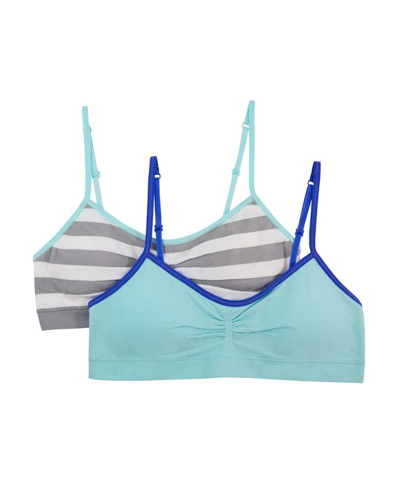 Girls' Seamless Everyday Bra with Modesty Pads, 2 Pack MEDIUM STRIPE/SOFT BLUE