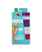 Fruit of the Loom Women's Breathable Micro-Mesh Bikini, 4 Pack Assorted