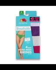 Women's Breathable Micro-Mesh Bikini, 4 Pack Assorted
