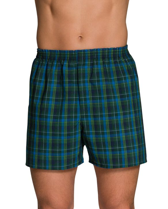Men's Woven Tartan Plaid Boxers, Extended Sizes, 4 Pack Assorted