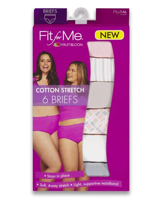 Women's Plus Size Fit for Me® by Fruit of the Loom® Cotton Stretch Brief Panty, 6 Pack