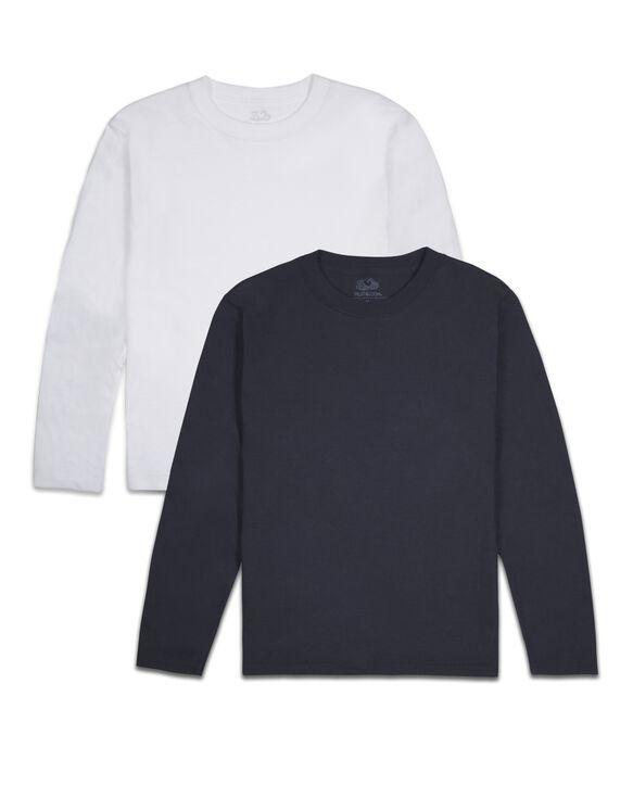 Boys' Super Soft Solid Multi-Color Long Sleeve T-Shirts, 2 Pack Basic Asst.