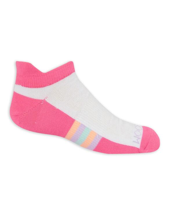 Girls' Active Lightweight No Show Tab Socks, 6 Pack WHITE/PURPLE, WHITE/PINK, WHITE/BLUE PINK/BLACK, PURPLE/BLACK, BLUE/BLACK