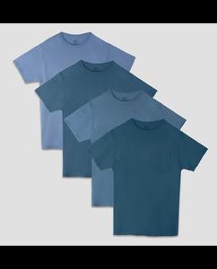 Men's 4 Pack Tonal Blue Pocket T-Shirt
