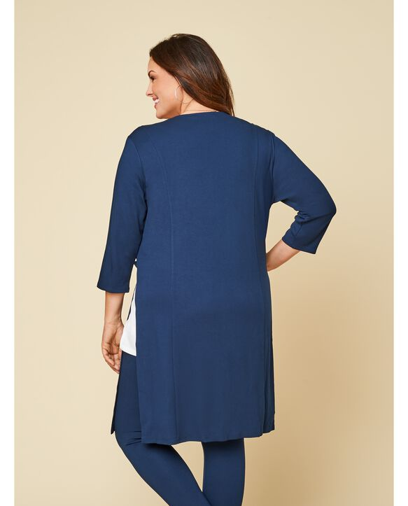 Women's Seek No Further Plus Size Ponte Open Front Long Cardigan Navy Nights