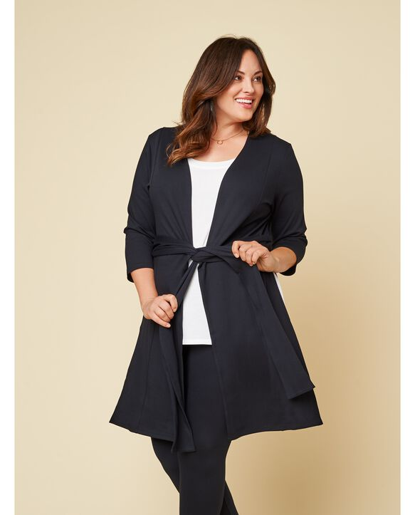Women's Seek No Further Plus Size Ponte Open Front Long Cardigan Brilliant Black