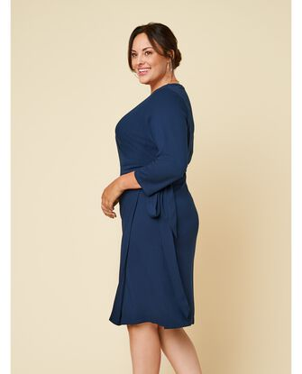 Women's Seek No Further Plus Size Ponte ¾ Sleeve V-Neck Wrap Dress
