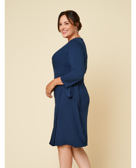 Women's Seek No Further Plus Size Ponte ¾ Sleeve V-Neck Wrap Dress Navy Nights
