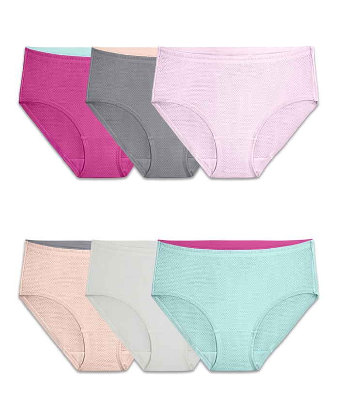 Women's Breathable Micro-Mesh Low-Rise Brief Panty, 6 Pack ASSORTED
