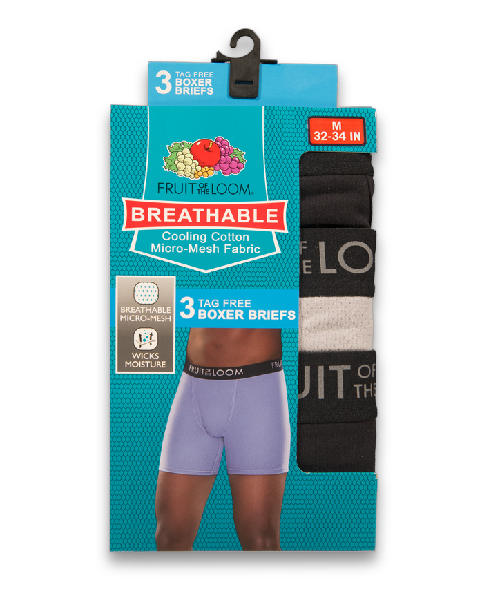 Men's Breathable Black and Gray Boxer Brief, 3 Pack Assorted