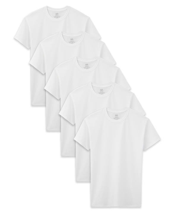 Boys' Husky White Crew Neck T-Shirts, 5 Pack